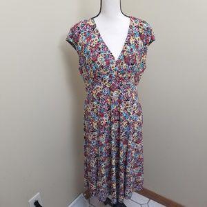Jones New York Color Cartoon Floral V Dress 10